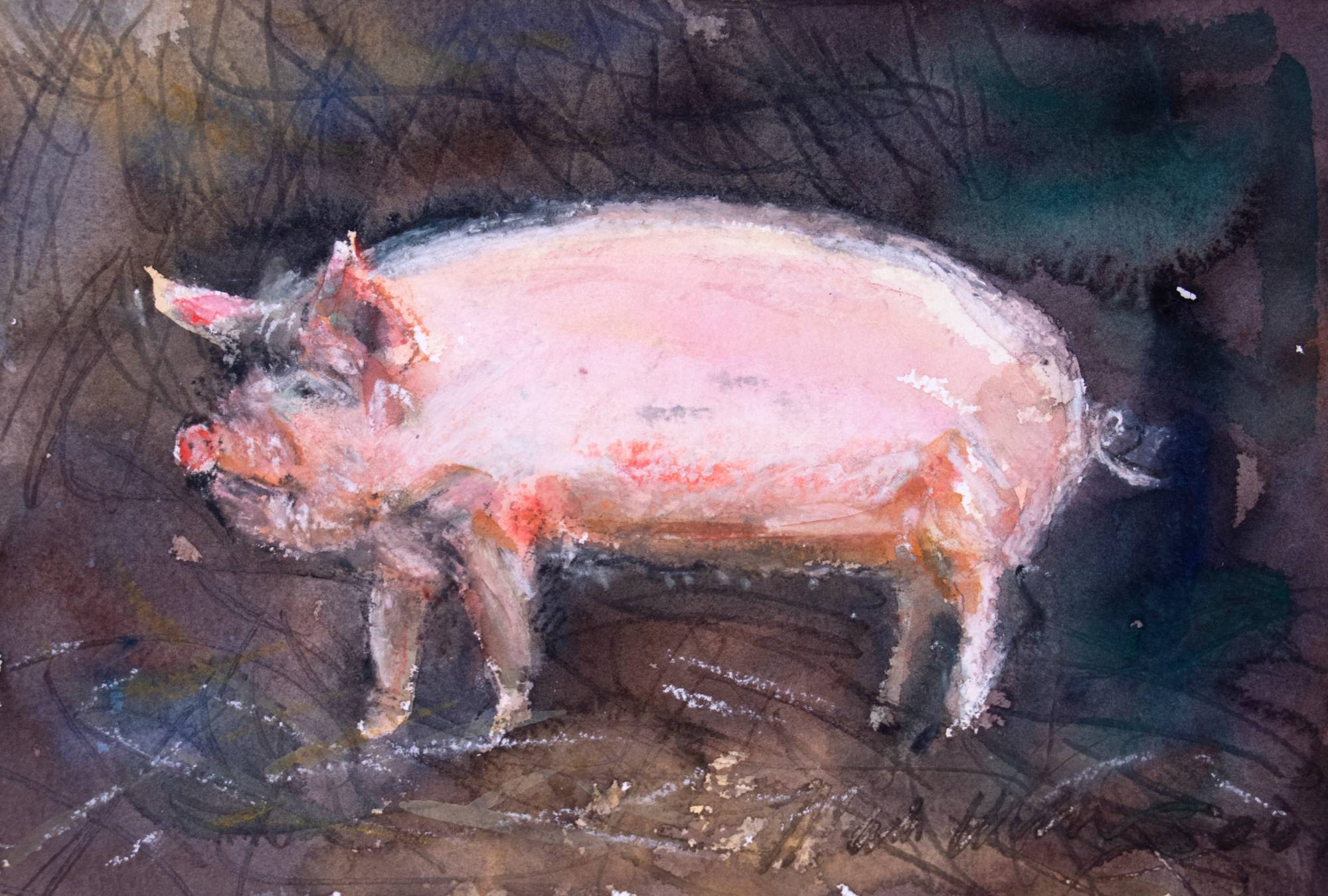 An artpiece that is of a watercolor pig.